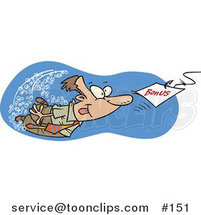 Cartoon Guy Swimming After a Hooked Bonus Underwater by Ron Leishman