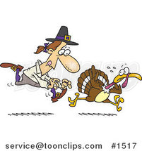 Cartoon Pilgrim Chasing a Turkey Bird by Ron Leishman
