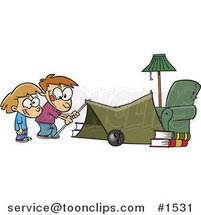 Cartoon Kids Setting up a Camping Tent in a Living Room by Toonaday