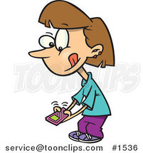 Little Cartoon Girl Texting on a Cell Phone by Ron Leishman