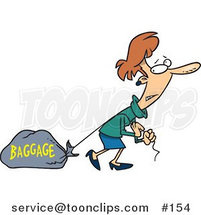 Cartoon Lady Pulling a Heavy Bag by Toonaday