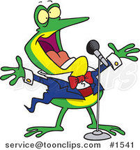 Cartoon Tenor Frog Singing by Ron Leishman