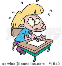 Stressed Cartoon School Girl Taking a Test by Ron Leishman