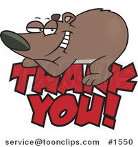 Cartoon Grateful Bear Resting on Thank You Text by Ron Leishman
