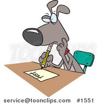 Cartoon School Dog Taking a Test by Ron Leishman