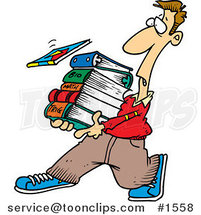 Cartoon Student Carrying Text Books by Ron Leishman