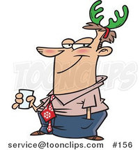 Cartoon Guy Wearing Green Christmas Antlers on His Head by Ron Leishman