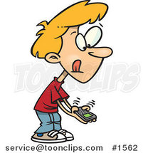 Little Cartoon Boy Texting on a Cell Phone by Ron Leishman