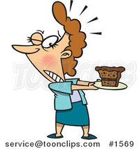 Tempted Cartoon Lady Holding a Slice of Cake on a Plate by Ron Leishman