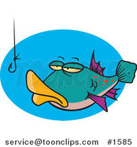 Cartoon Tempted Fish Staring at a Hook by Ron Leishman