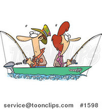 Cartoon Couple Fishing Together in a Boat by Ron Leishman