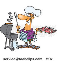 Cartoon Guy Preparing to Barbeque Ribs on a Gas Grill by Toonaday