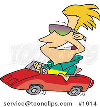 Cartoon Cool Blond Guy Wearing Shades and Driving a Convertible by Ron Leishman
