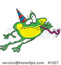 Cartoon Leaping Party Frog by Ron Leishman