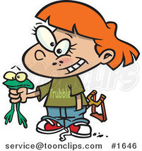 Cartoon Tomboy Girl Holding a Frog by Ron Leishman