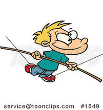 Cartoon Boy Walking on a Tight Rope by Ron Leishman