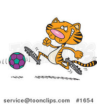 Cartoon Tiger Playing Soccer by Ron Leishman