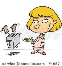 Cartoon Girl Holding a Plate for Her Toast Popping out of a Toaster by Toonaday