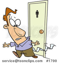 Cartoon Business Man Leaving a Bathroom with Tissue Stuck to His Pants by Ron Leishman