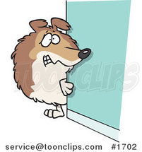 Cartoon Timid Collie Dog Looking Around a Corner by Ron Leishman