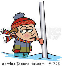 Cartoon Boy with His Tongue Stuck to a Pole by Ron Leishman