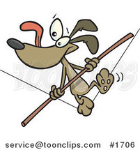 Cartoon Brown Dog Walking a Tight Rope by Ron Leishman