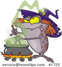 Cartoon Witch Toad Mixing Brew by Toonaday