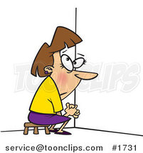 Cartoon Business Woman Doing Time out in a Corner by Ron Leishman