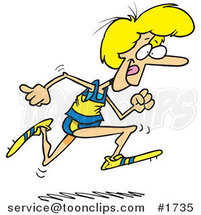 Cartoon Lady Running Track by Ron Leishman