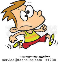 Cartoon Boy Running Track by Ron Leishman