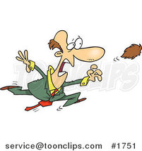 Cartoon Business Man Chasing After His Toupee by Ron Leishman