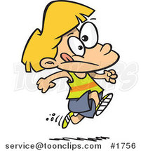 Cartoon Girl Running Track by Ron Leishman