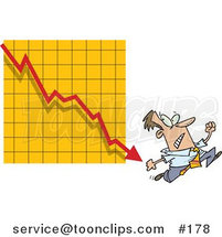 Cartoon Guy Running from a Bar on a Declining Graph by Ron Leishman