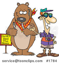 Cartoon Tourist Feeding a Cookie to a Bear for a Photo Op by Ron Leishman