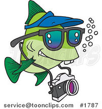 Cartoon Fish Tourist Swimming with a Camera by Ron Leishman