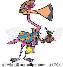 Cartoon Tourist Flamingo Carrying a Tropical Beverage by Ron Leishman