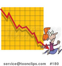 Cartoon Lady Running from a Bar on a Declining Graph by Ron Leishman