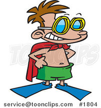 Cartoon Super Swim Boy Wearing Flippers and a Towel Cape by Ron Leishman