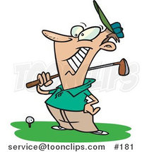 Cartoon Happy Golfer near a Ball, Holding His Golf Club by Ron Leishman