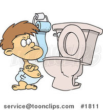 Stubborn Cartoon Toddler Standing by a Toilet with His Arms Folded by Ron Leishman