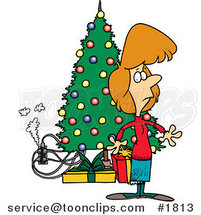Cartoon Lady Standing by a Christmas Tree with an Overloaded an Electrical Socket by Ron Leishman