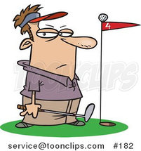 Cartoon Golfer Standing by a Golf Ball on Top of a Red Flag by Ron Leishman