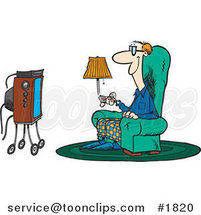Cartoon Guy Sitting in a Chair and Watching Tv by Ron Leishman