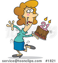 Cartoon Happy Lady Carrying a Birthday Cake with 21 Candles by Ron Leishman