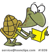 Cartoon Tortoise Reading a Greeting Card by Ron Leishman
