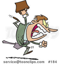 Cartoon Screaming Angry Business Man Running and Charging Forward with a Briefcase by Ron Leishman