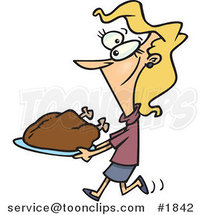 Cartoon Lady Carrying a Roasted Turkey by Ron Leishman