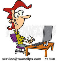 Cartoon Female Typist Working on a Computer by Ron Leishman