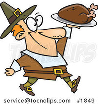 Cartoon Pilgrim Guy Carrying a Roasted Turkey by Ron Leishman