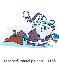 Cartoon Santa Claus Pulling a Toy Sack, Frozen Solid with Icicles Hanging from His Hat and Hand by Ron Leishman